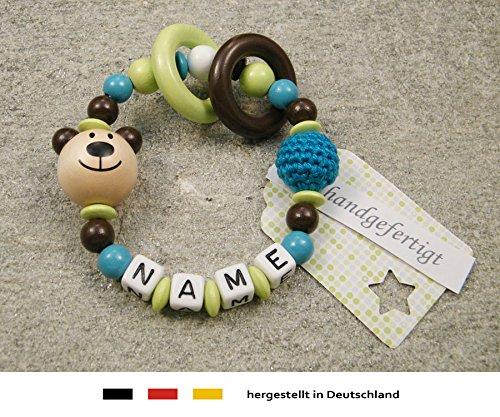 Baby Greifling Beißring geschlossen mit Namen | individuelles Holz Lernspielzeug als Geschenk zur Geburt & Taufe | Mädchen & Jungen Motiv Bär in natur, braun