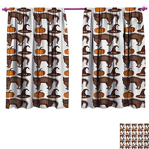 cobeDecor Halloween Blackout Draperies for Bedroom Seasonal Vintage Pattern with Pumpkin Squash Witch Hats and Cat Figures Window Curtain Drape W55 x L45 Brown Orange Green