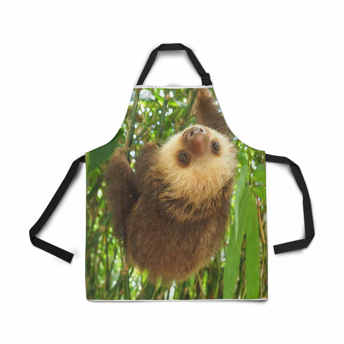 interestprint Baby Sloth Hanging In a TreeエプロンレディースメンズガールズChef withポケット、Lovely動物ユニセックス調整可能なよだれかけエプロンキッチンfor Cooking Baking Painting   B079L646S6