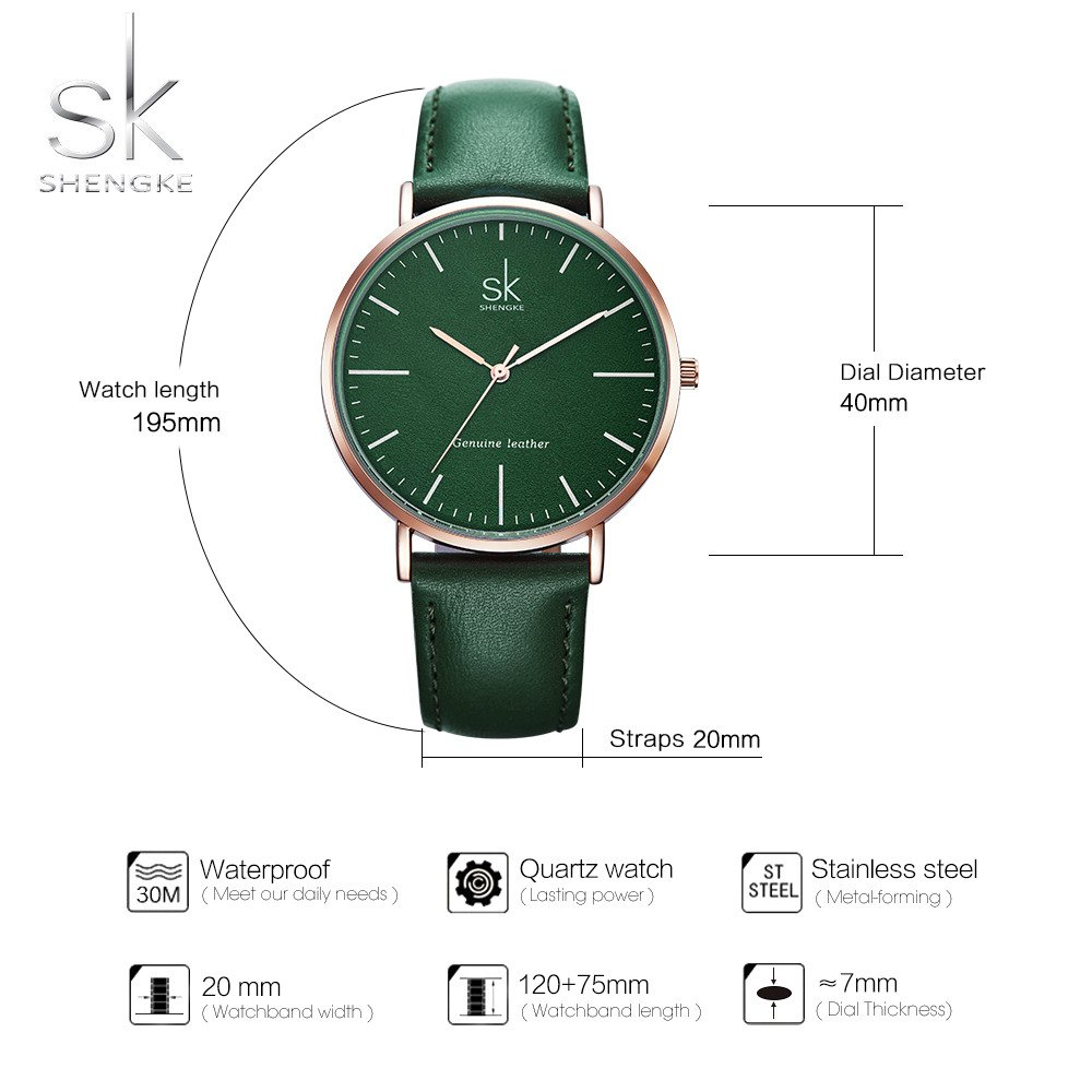 Amazon.com: SHENGKE Genuine Leather Ultra Thin Women Watches 2018 Women Quartz Watch Elegant Dress Ladies Watch K0082L (gold case&green strap): Watches