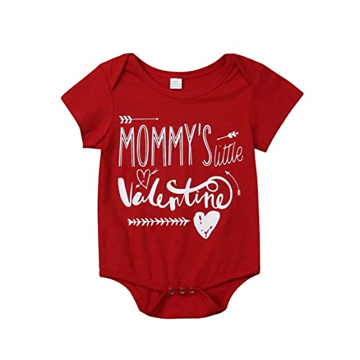 5bd3e9e0235 Amazon.com  Newborn Baby Boys Mommy s Little Valentine Romper Bodysuit Long  Sleeve T-Shirt Top Valentine s Day Outfit Set  Clothing