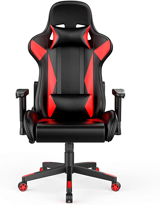 AmazonBasics BIFMA Certified Gaming/Racing Style Office Chair - with Removable Headrest and High Back Cushion - Red, BIFMA Certified