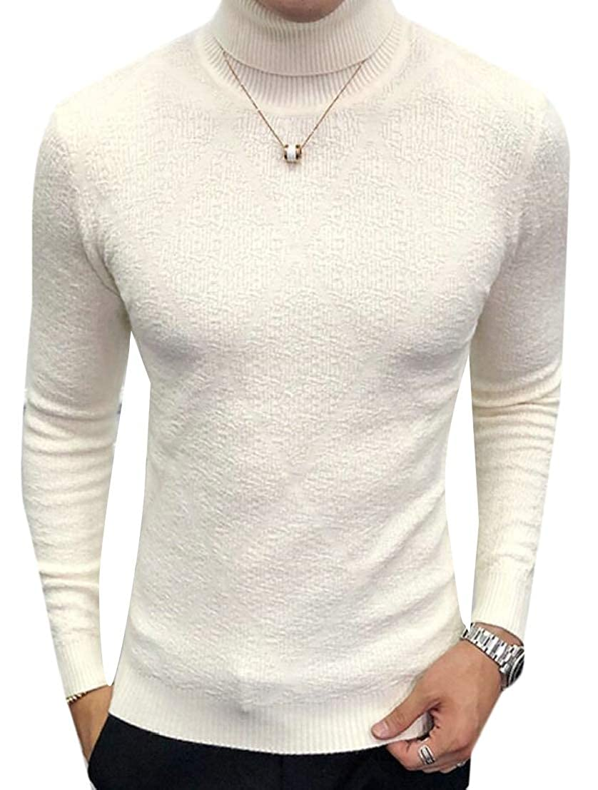 Generic Mens High Neck Slim Leisure Knitwear Knitting Solid Pullover Sweaters
