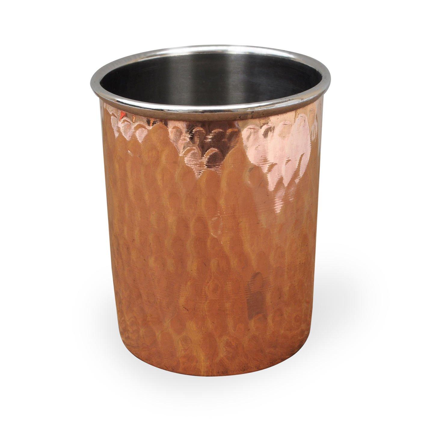 Dungri la India Botella de cobre macizo con 3 Vasos Vasos alta calidad Conjunto de Ayurveda Sanación: Amazon.es: Hogar