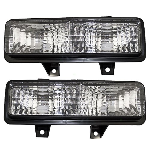 (Driver and Passenger Park Signal Front Marker Lights Lamps Lenses Replacement for Chevrolet GMC Pickup Truck SUV 5975227 5975228 AutoAndArt)