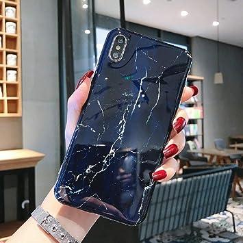 BENLUOLUO Funda para telefono movil Estuche para teléfono de mármol sFor iPhone 7 XS MAX Estuche