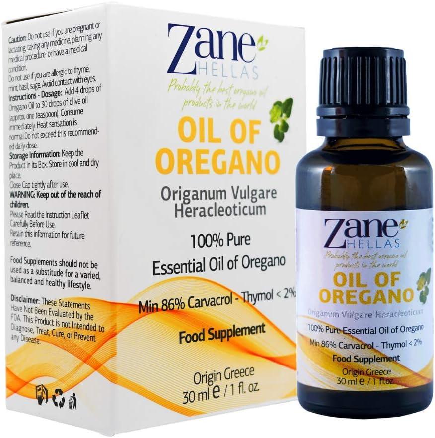 Zane Hellas 100% Aceite de orégano sin diluir.Aceite Esencial de orégano Griego Puro.86% Min Carvacrol.129mg de Carvacrol por porción.Probablemente el Mejor Aceite de orégano del Mundo.30ml