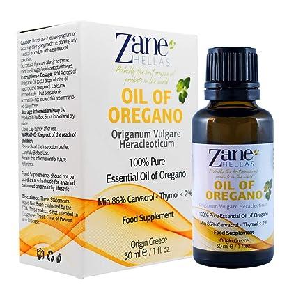 Aceite de orégano Zane Hellas 100% sin diluir.Aceite esencial de orégano silvestre griego puro.86% Min Carvacrol.129mg de Carvacrol por ...