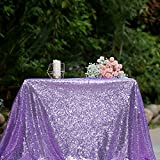 3E Home 50x50 Inches Square Sequin TableCloth for Cake Table Exhibition Decoration, Lavender