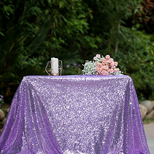 3E Home 50x50 Inches Square Sequin TableCloth for Cake Table Exhibition Decoration, Lavender by 3eHome