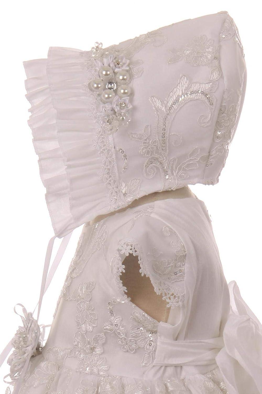White Baby Toddler Girls Christening Baptism Dress Bonnet Flower Girl Easter Wedding Party