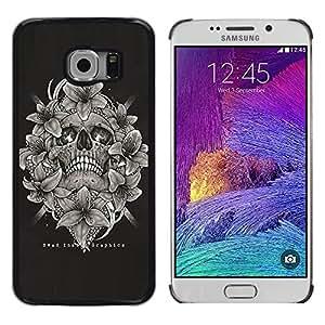 Shell-Star Arte & diseño plástico duro Fundas Cover Cubre Hard Case Cover para Samsung Galaxy S6 EDGE / SM-G925 / SM-G920A / SM-G925T / SM-G925F / SM-G925I ( Skull Black White Floral Wreath Death )