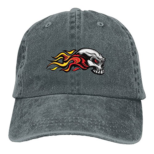 Kkidj Ooii Cowboy Baseball Caps Men&Women Dad Style Hats Cool Fire Flame Skull - Flame Embroidery