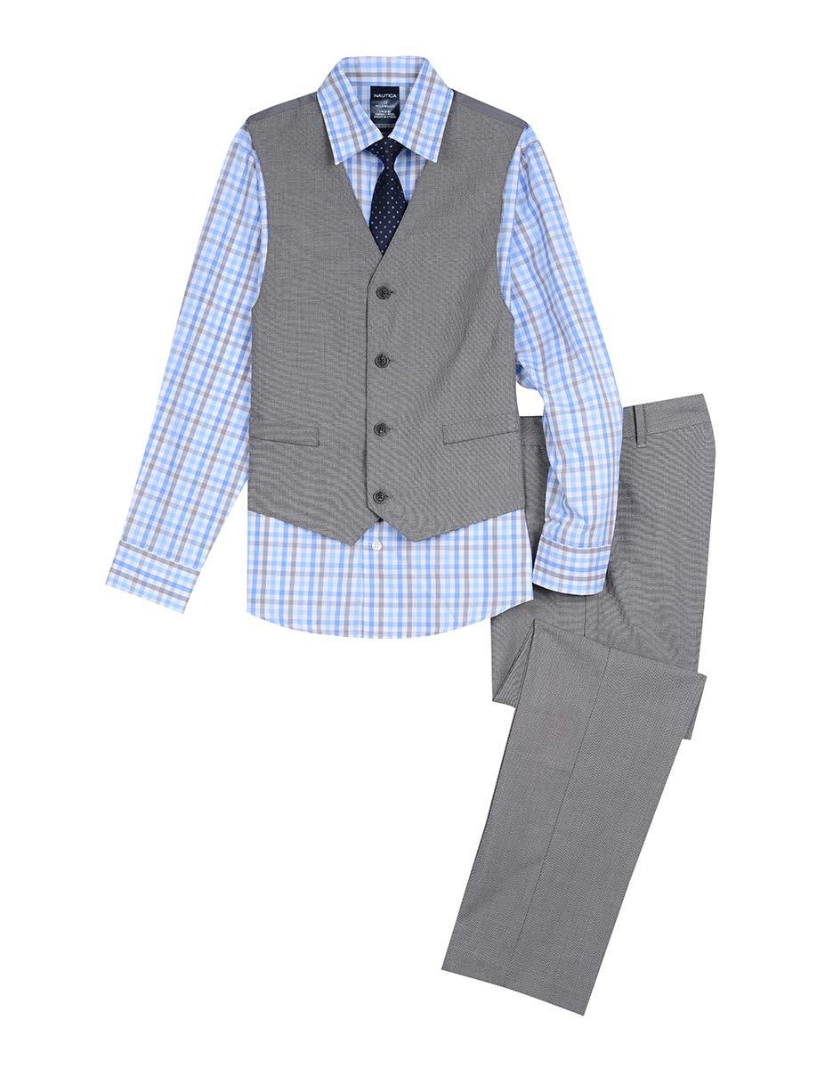 Nautica Boys' Big 4-Piece Formal Dresswear Vest Set, Pastel Light Grey, 10