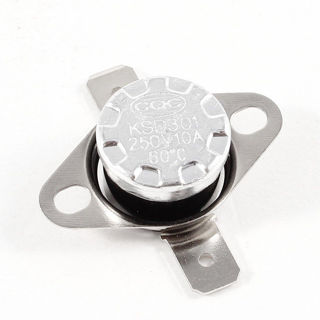 KSD301 AC 250V 10A 60Celsius NC Temperature Control Switch Thermostat Sourcingmap a13120500ux0278