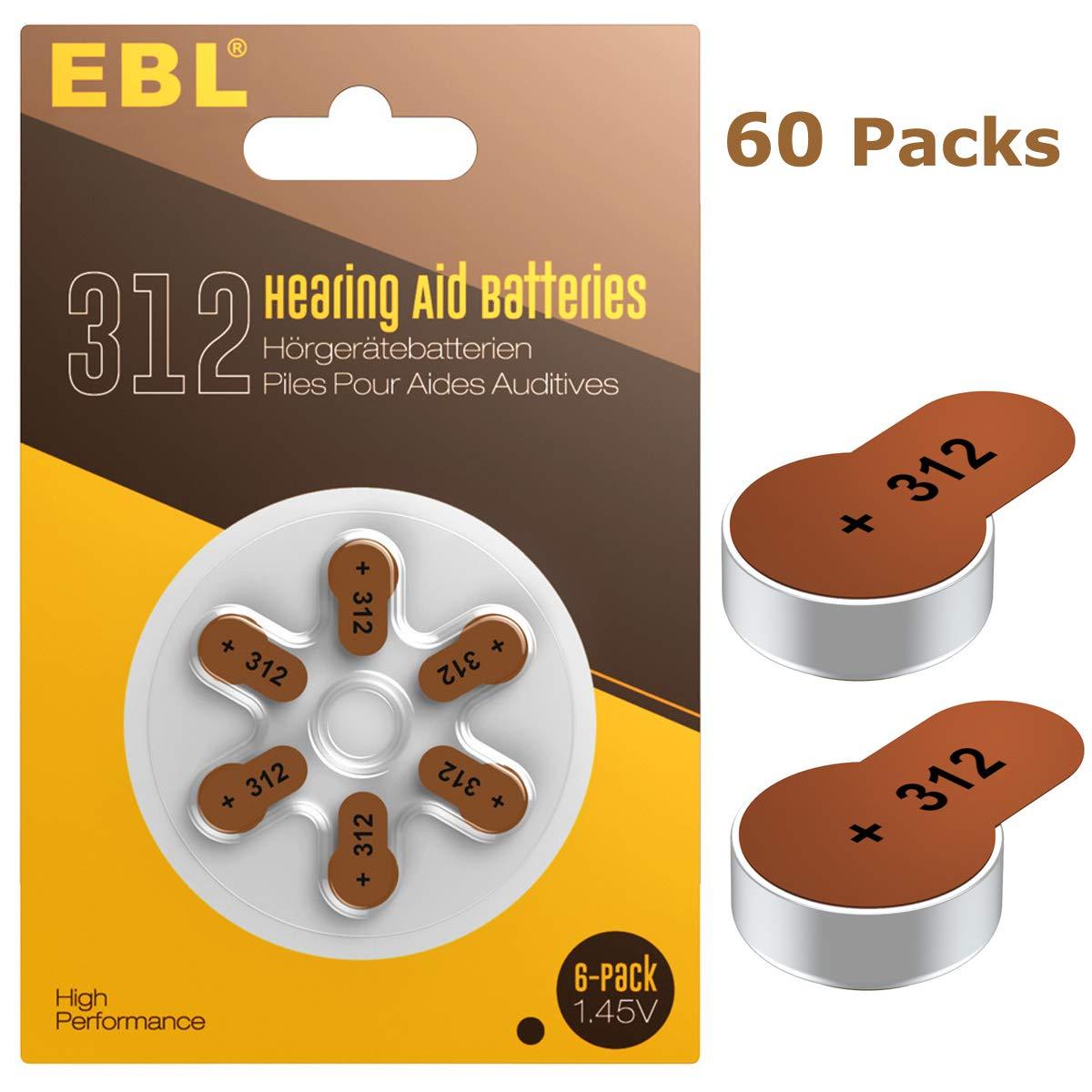 EBL Hearing Aid Batteries Size 312 PR41 60 Pack 1.45V Zinc-Air Battery by EBL
