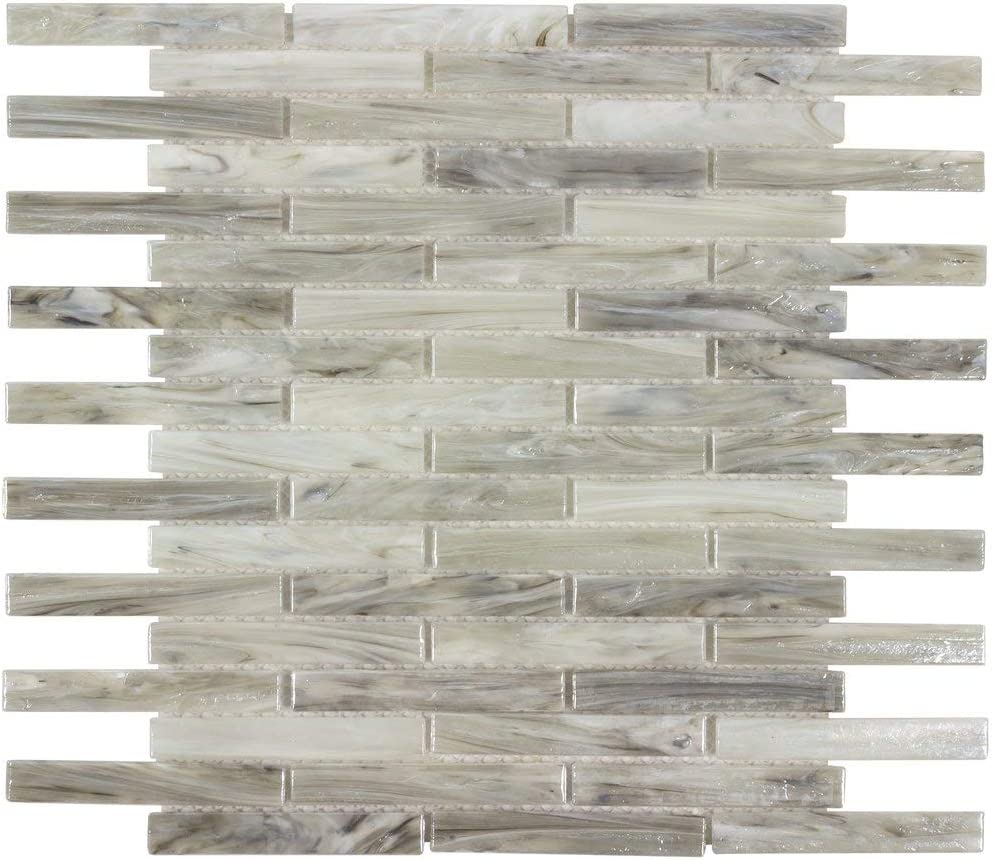 MTO0508 Modern 1X1 Square Blue Beige Metallic Glossy Hot Glass Mosaic Tile Single Sheet .97 Sq Ft Ea