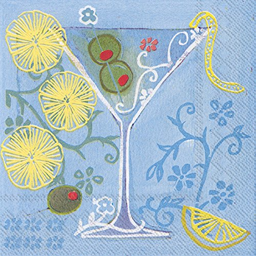Ideal Home Range 20 Count 3-Ply Paper Fruit Cocktail Napkins, Martini