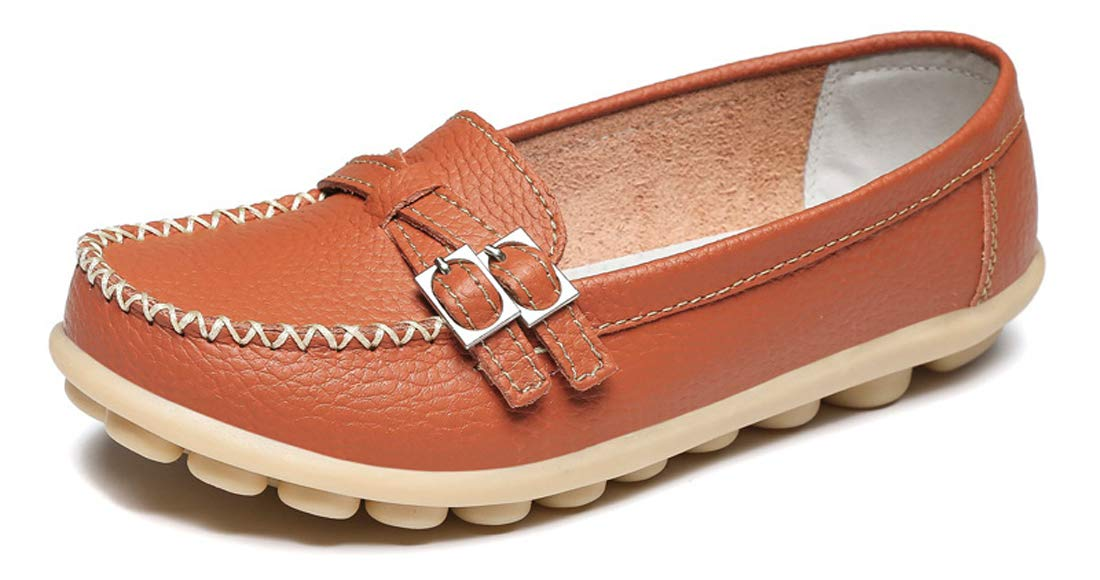 UJoowalk Women's Comfortable Leather Soft Slip-On Flat Casual Driving Loafer Shoes (10 B(M) US, Orange)