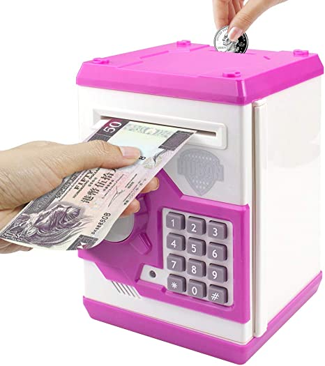 Amazon Com Sikaye Piggy Banks Best Gift For Kids Children Electronic Code Lock Money Banks With Password Mini Atm Money Save For Paper Money And Coins Great For Boys Girls White Pink Kitchen