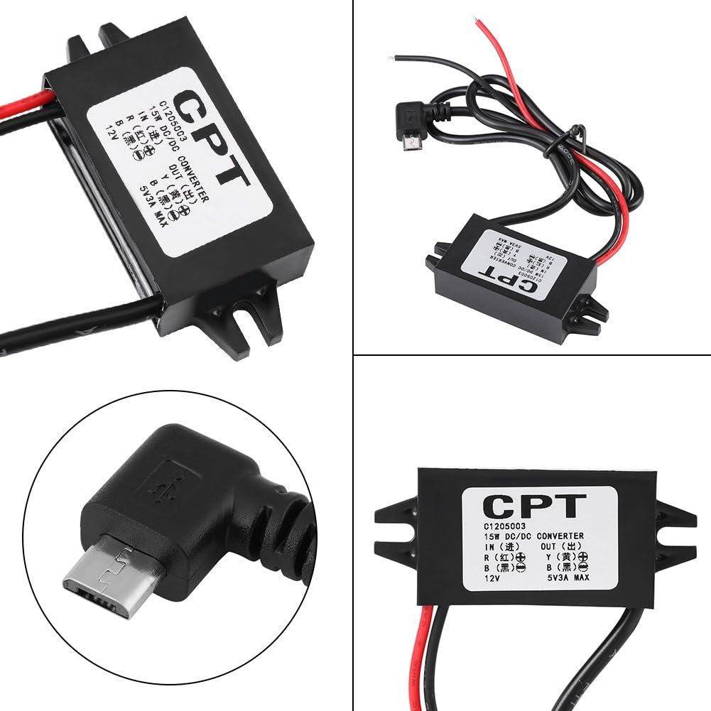 Ymiko Adattatore convertitore Micro USB DC-DC ad Alta efficienza da 12V a 5V 3A Cavi regolatori Step Down con Protezione da cortocircuito per Smartphone per Auto