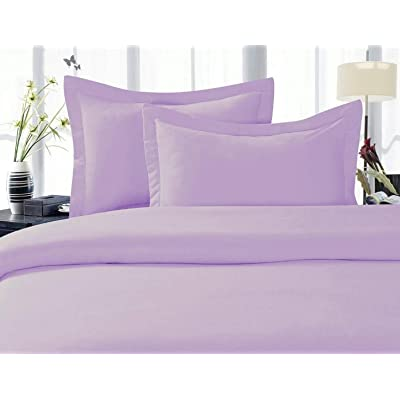 Elegance Linen 1500 Thread Count Egyptian Quality Super Soft Wrinkle Free 3 pc Duvet Cover Set, King/California King - Lilac: Home & Kitchen