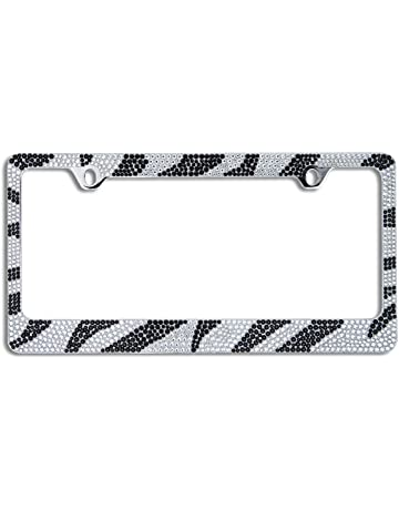 e1f5449489c BLVD-LPF OBEY YOUR LUXURY Popular Bling 7 Row Crystal Metal Chrome License  Plate Frame