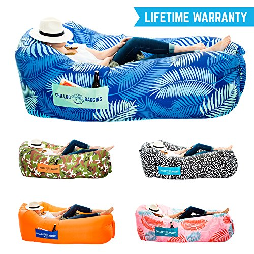 Chillbo Baggins 2.0 Inflatable Lounge Bag Hammock Air Sofa and Pool Float Ships Fast! Ideal for Indoor or Outdoor Hangout or Inflatable Lounger for Camping Picnics & Music Festivals (Blue Leaf)