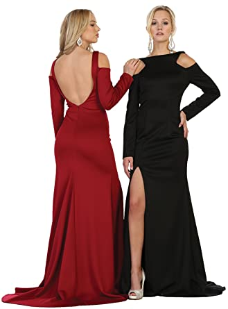 8c9ace18679 May Queen by Formal Dress Shops Inc FDS1544 Long Sleeve Fitted Stretchy Prom  Dress at Amazon Women s Clothing store
