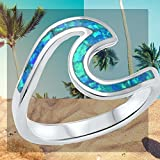 THREE COLORS AVAILABLE! Wave Ocean Beach Girls Gift Lab Created Opal .925 Sterling Silver Ring sizes 4-12