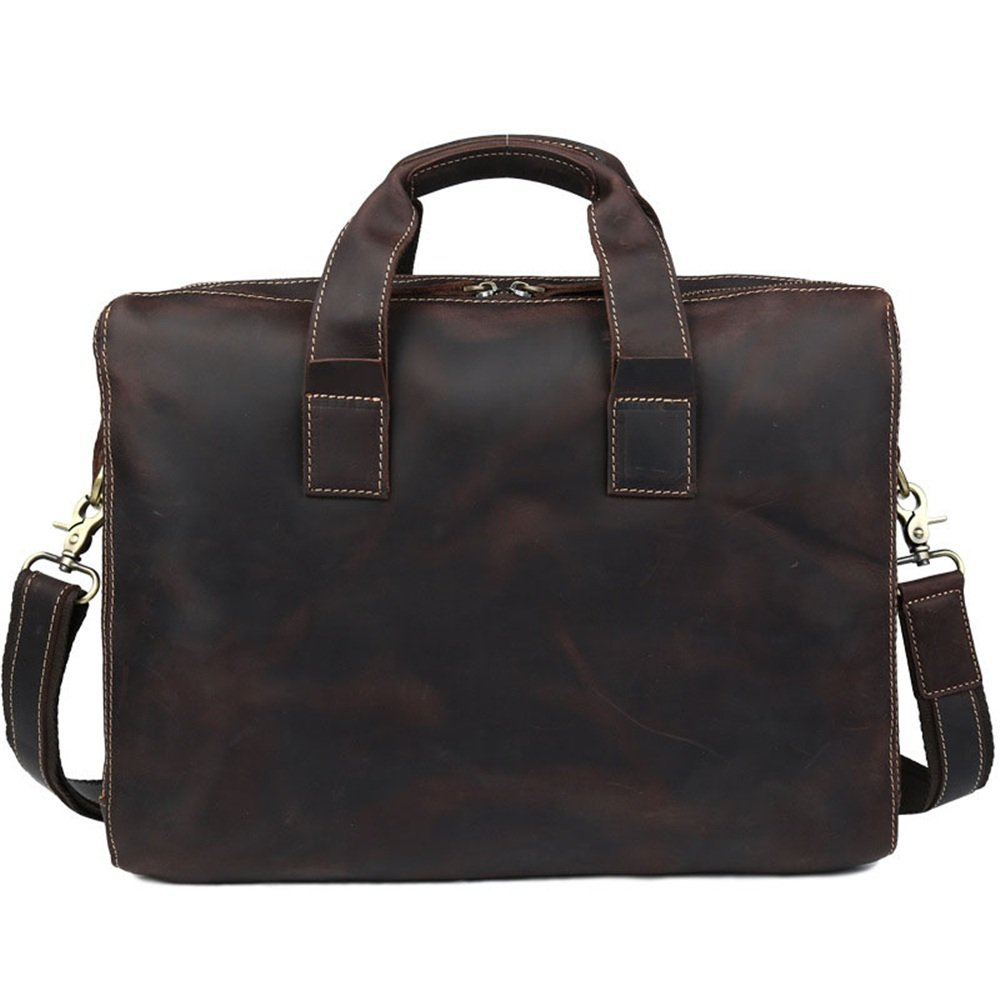Zxcvlina Laptop Briefcase Dark Brown 3 Compartment Retro Style Portable Leather Messenger Bag Handbag Men's Business Briefcase 15'' Notebook