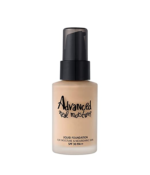 touch In SOL Advanced Real Moisture Liquid Foundation SPF30 PA++ 1.01 fl. oz. (30ml) - A Light Weight Hydrating Foundation, Long Lasting High Adhesive Coverage (#21 Nude Beige)