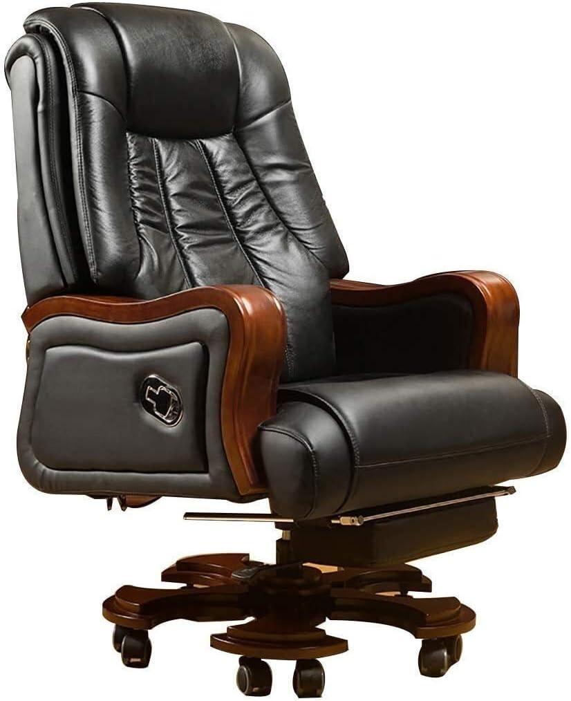 WJMLS Ejecutivo giratoria ajustable silla giratoria de oficina con brazos Silla soporte lumbar turística silla ergonómica reclinado ejecutivo de negocios de madera maciza Silla giratoria Silla de orde