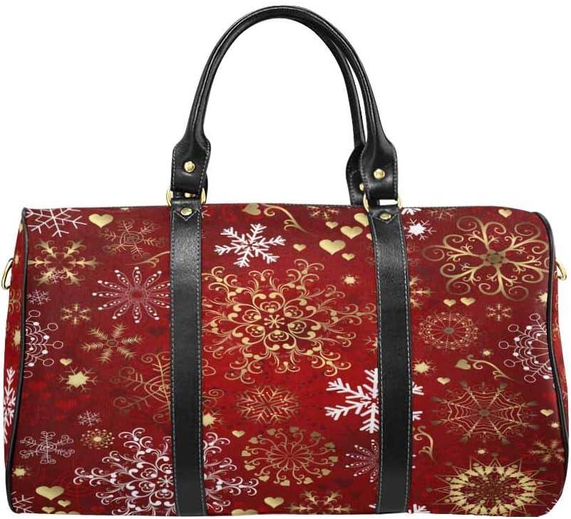 Flight Bag Gym Bag Gold and White Snowflakes InterestPrint Large Duffel Bag