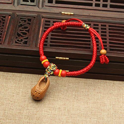 Mahogany stepped villain red string bracelet women girls to male models cinnabar bracelet bracelets couple natal anti-villain HuTouXie Generic