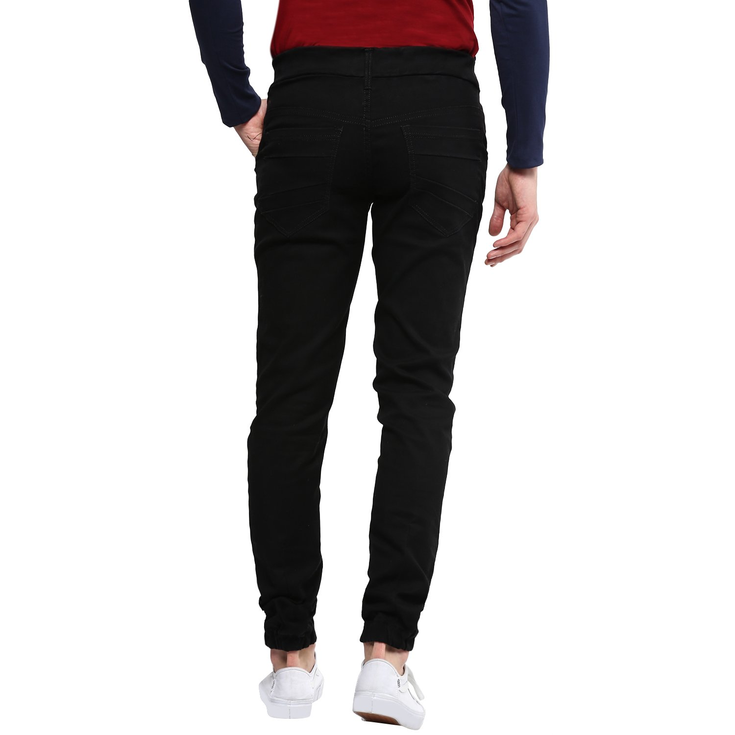 7d1799aa3a1 Urbano Fashion Men s Black Slim Fit Stretch Jogger Jeans  Amazon.in   Clothing   Accessories