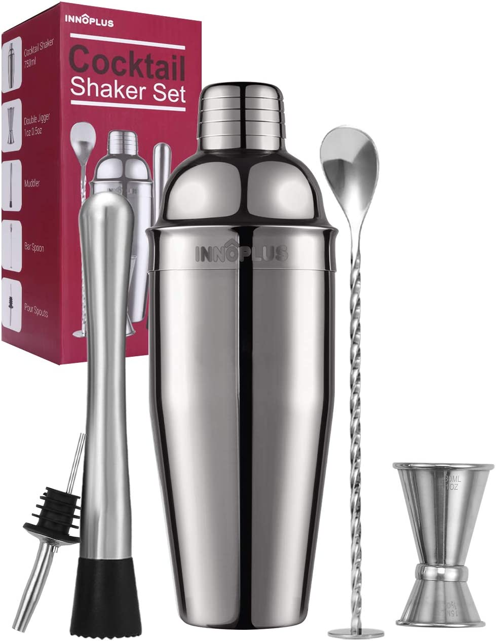This is an image of a cocktail shaker set in chrome and a red box for storage.