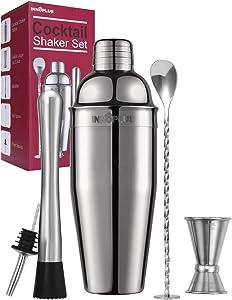 Cocktail Shaker, Cocktail Shaker Set, Martini Shaker, Drink Shaker, Bartender Kit 25 oz Margarita Drink Mixer Christmas Gift, Muddler, Mixing spoon, Jigger, Liquor Pourers Alcohol Tool Strainer Set
