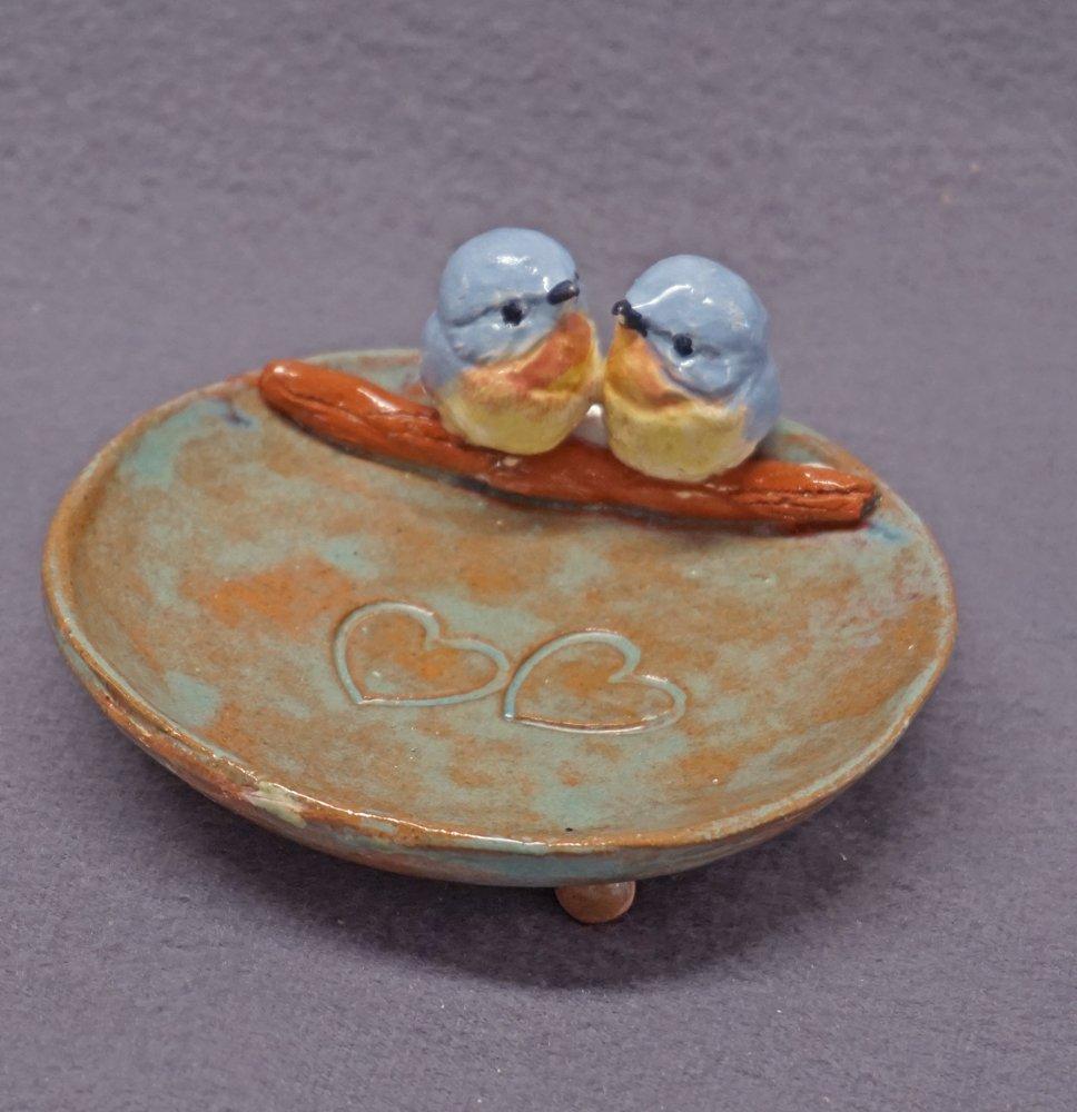 Amazon com: Handmade Ceramic Dish with Love Birds - Ring