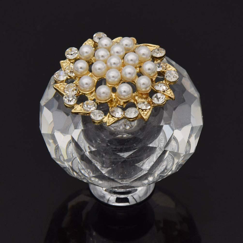 Kesheng Glas M/öbelknopf M/öbelgriff M/öbelknauf mit Strass Perlen Transparent Deko