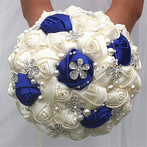 Advanced Customization Romantic Bride Wedding Holding Bouquet Roses with Diamond Pearl Ribbon Valentine's Day Bouquet Confession Many Colors for Choose 18cm (Ivory+Royal Blue)