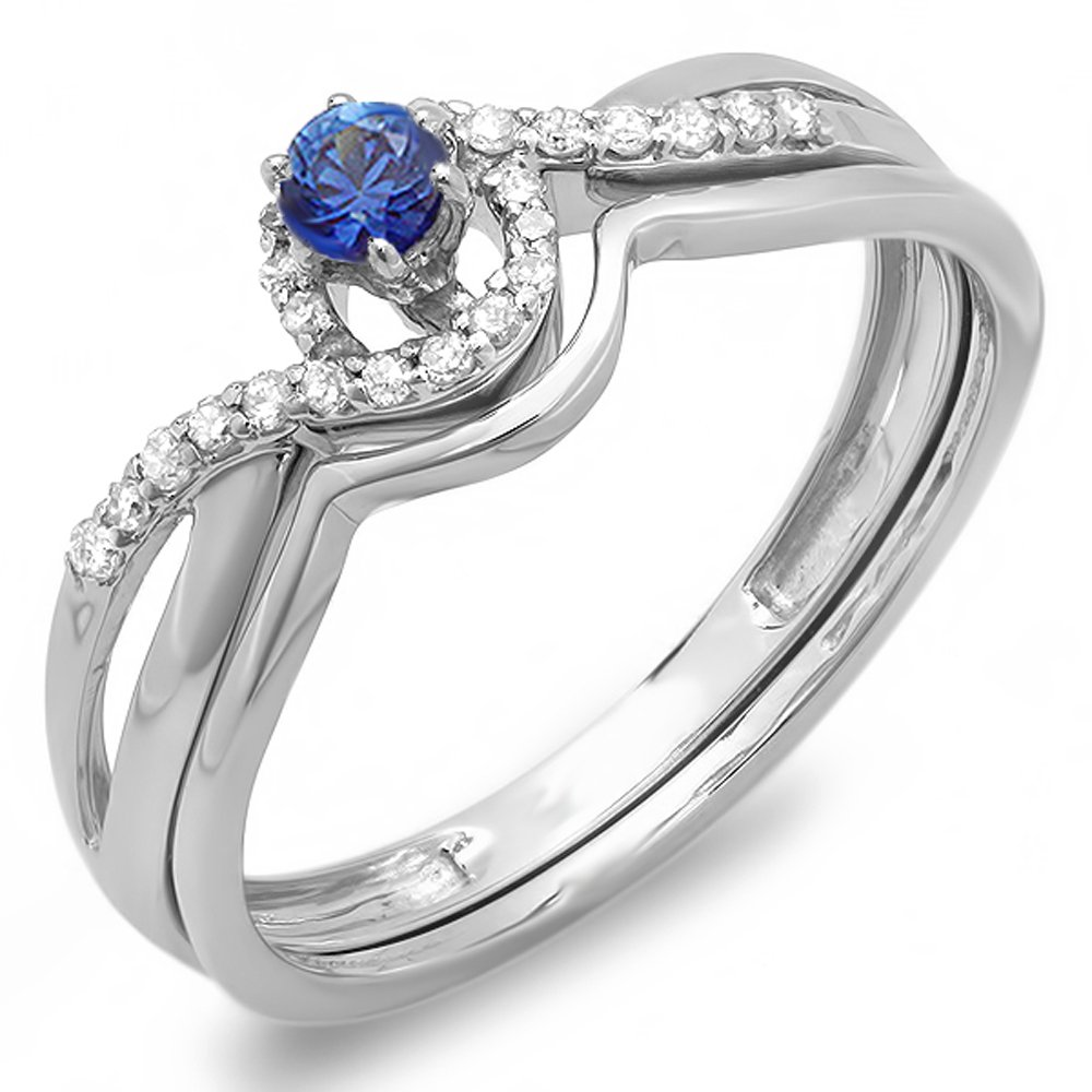 Dazzlingrock Collection 10K Round Blue Sapphire & White Diamond Swirl Crossover Bridal Engagement Ring Set, White Gold, Size 7 by Dazzlingrock Collection