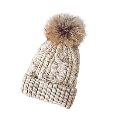 Shenpr Women Winter Ski Crochet Hat Fur Cannabis Wool Knit Beanie