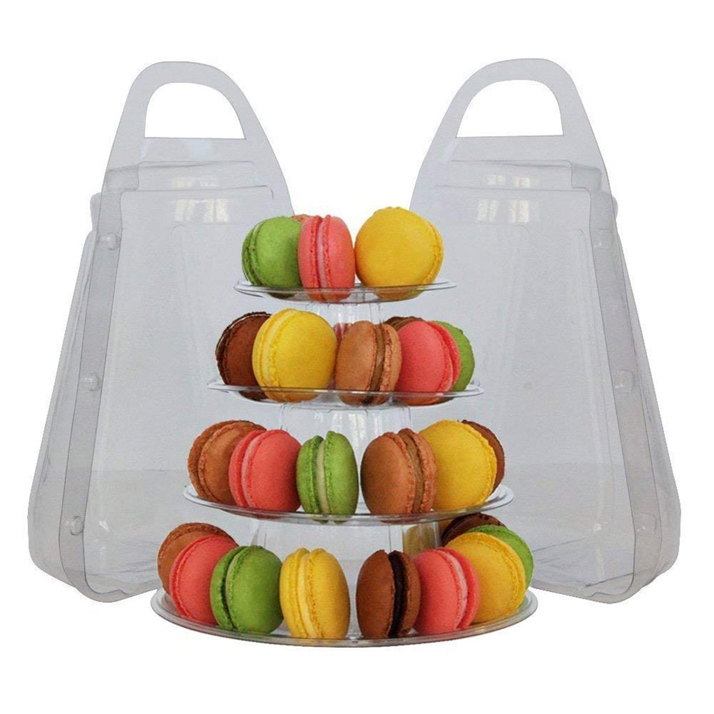 Cupcake Holder Carrier Container for Wedding Birthday Party Decorations 4 Tiers B Blesiya Macaron Tower Display Rack Macaron Stand Packing Box