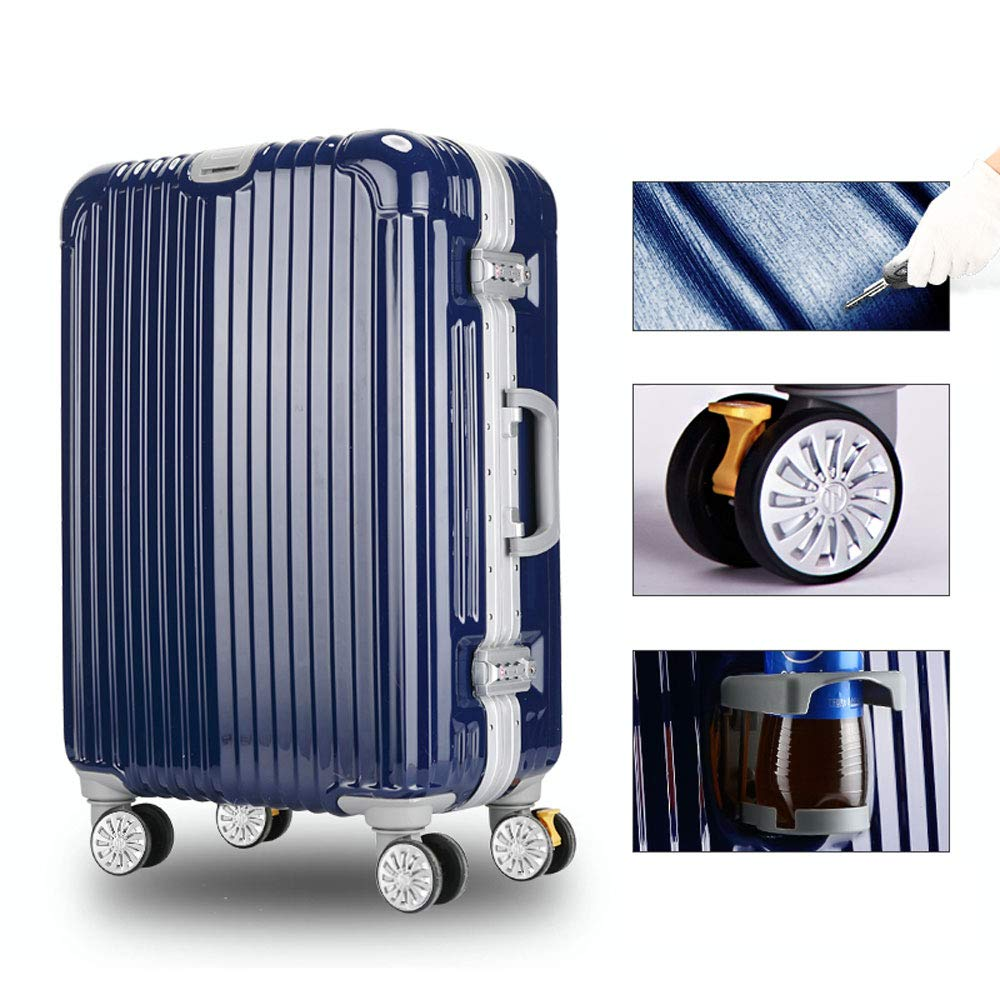 YD スーツケース トロリーケース - ABS + PC、大口径ブレーキホイール、クラムシェルカップホルダー、スタイリッシュな傷防止ブラシ仕上げ隠しフック大容量スーツケース - 5色、2サイズ利用可能 /& (色 : Sapphire blue, サイズ さいず : 36*23*56cm) 36*23*56cm Sapphire blue B07MXBFVRK