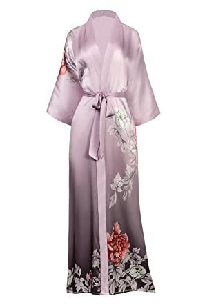 Kim Ono Womens Silk Kimono Robe Long Floral Print Botan Dusty