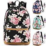 MORGLOVE Canvas Backpack for Girls Teenager High School Bookbag with Charging Port Lightweight (17.3'H 11.8'L 7.48'W) Black