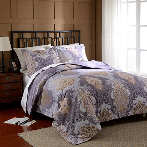 Simple&Opulence Polyester Palace Printing Purple Bedding Quilt King Euro King Queen Twin Duvet Cover Set Including 1 Duvet Cover 2 Pillow Cases (Queen)