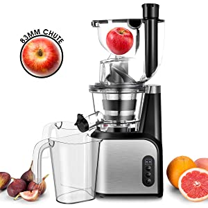 Slow Masticating Juicer Extractor, CUSIBOX 83mm (3.27inch) Wide Chute Cold Press Juicer with Quiet Motor and Reverse Function, High Nutrient Vegetable Juice and Fruit Jam