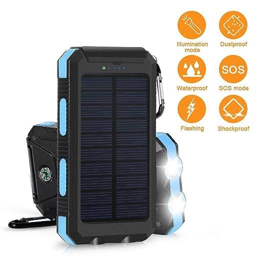 Tenlso Solar Power Bank 20000mah, Banco de energía Solar Impermeable con Cargador portátil USB Dual con brújula de luz LED
